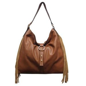 Gorgeous Saddle Brown Leather Hobo wSuede Fringe